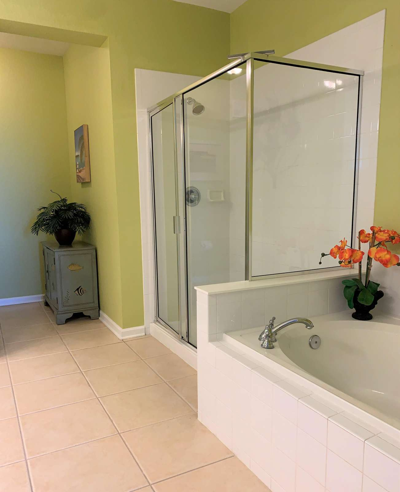 Shower and roman tub in master bathroom