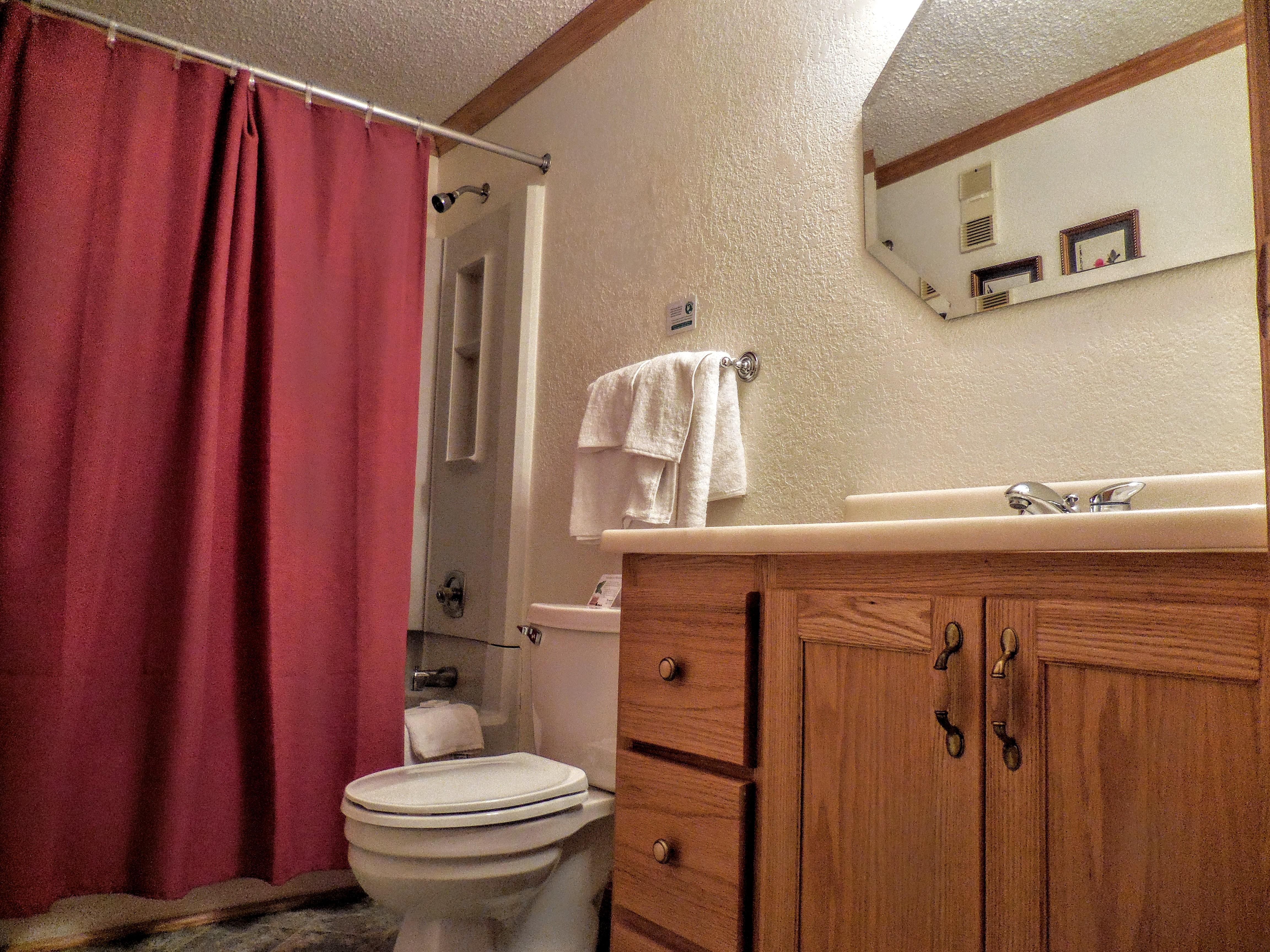 Enlarged bathroom provides more room and comfort