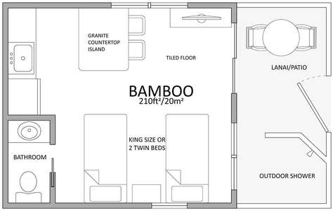 Floor plan with twin beds
