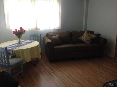 Lower level family room with walk out door to back yared