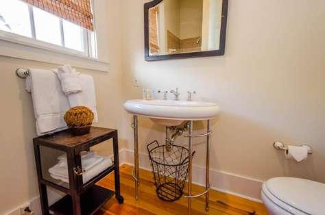 Full 2nd Level Full Bathroom - Glass enclosed shower.