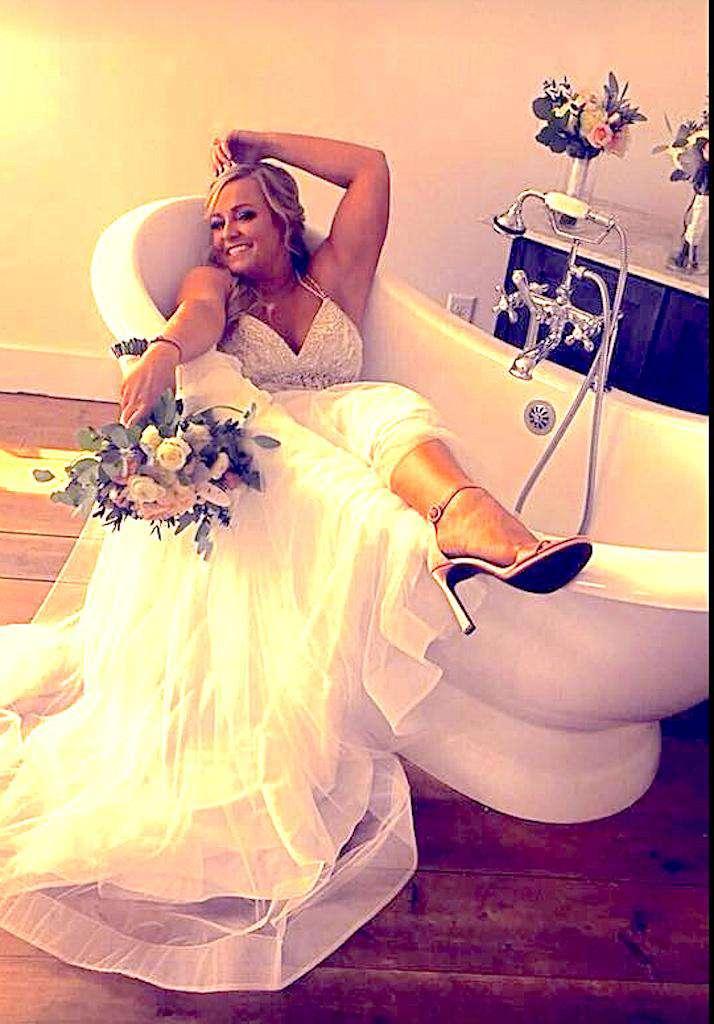 beautiful bride celebrating