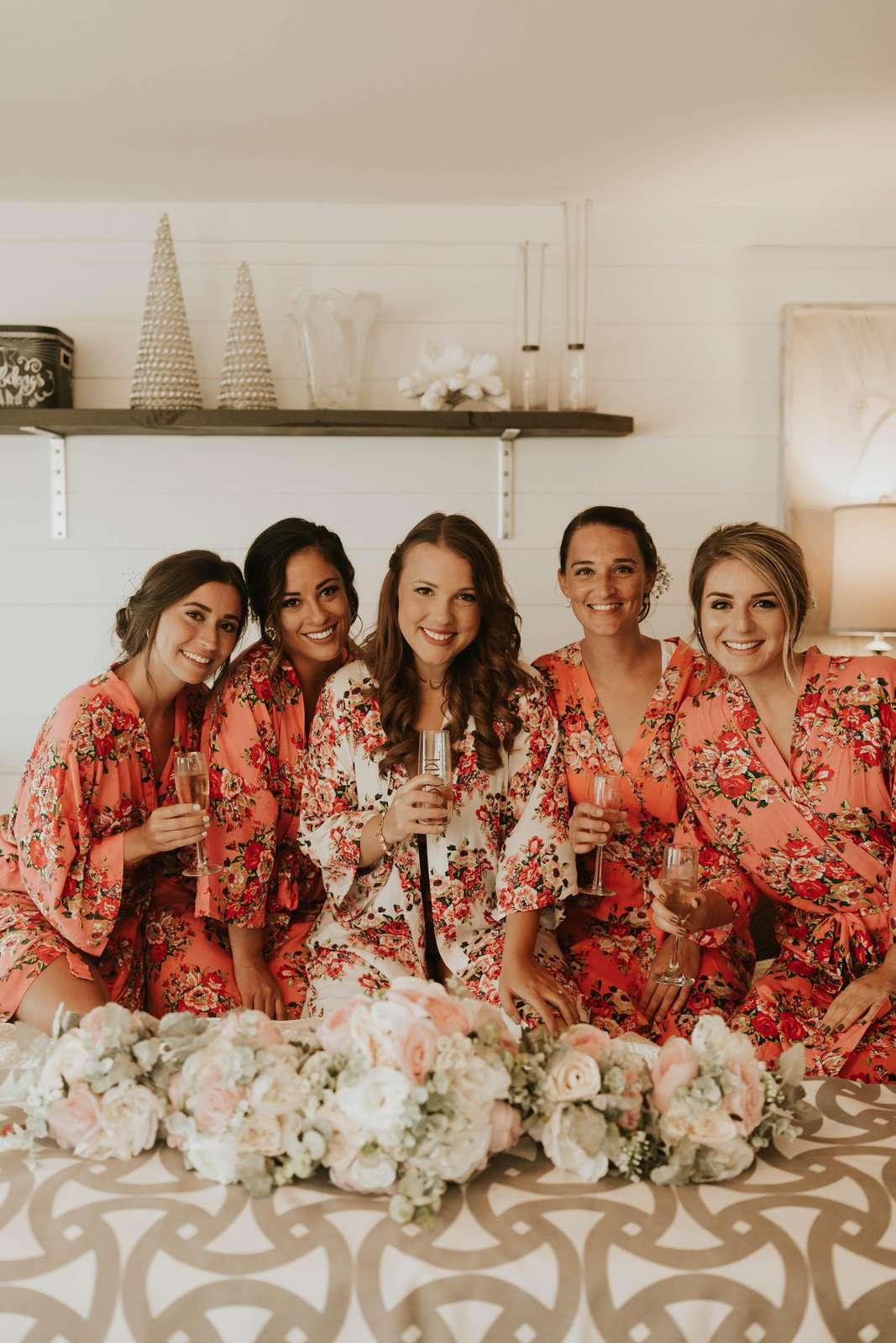 Bride & bridesmaids celelbrating