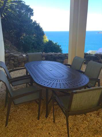 Covered Patio Dining Table by grill