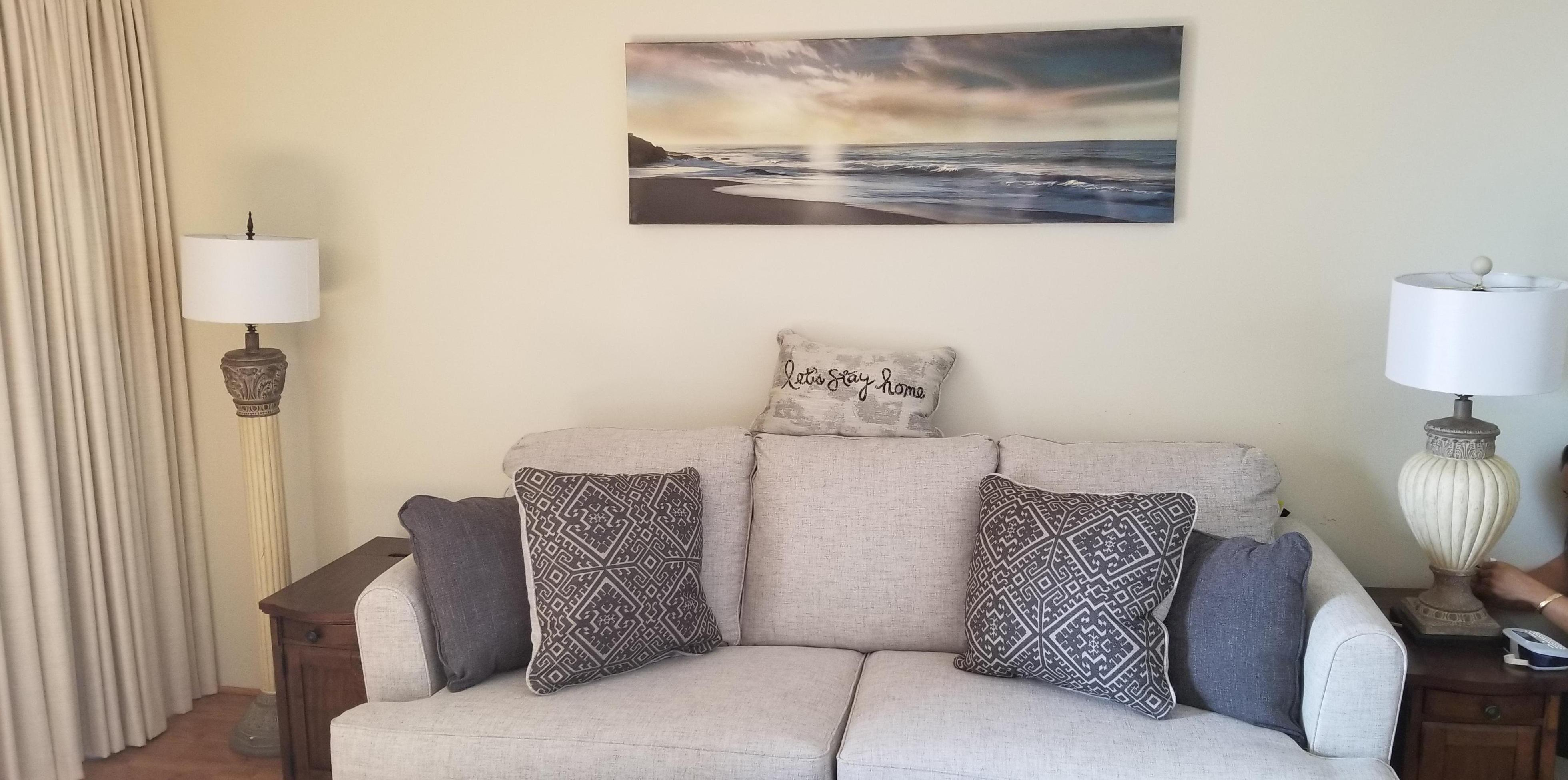 NEW art on wall above sofa