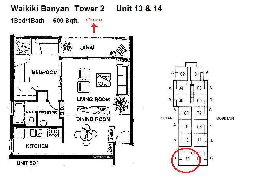 Waikiki Banyan 2514 floor plan