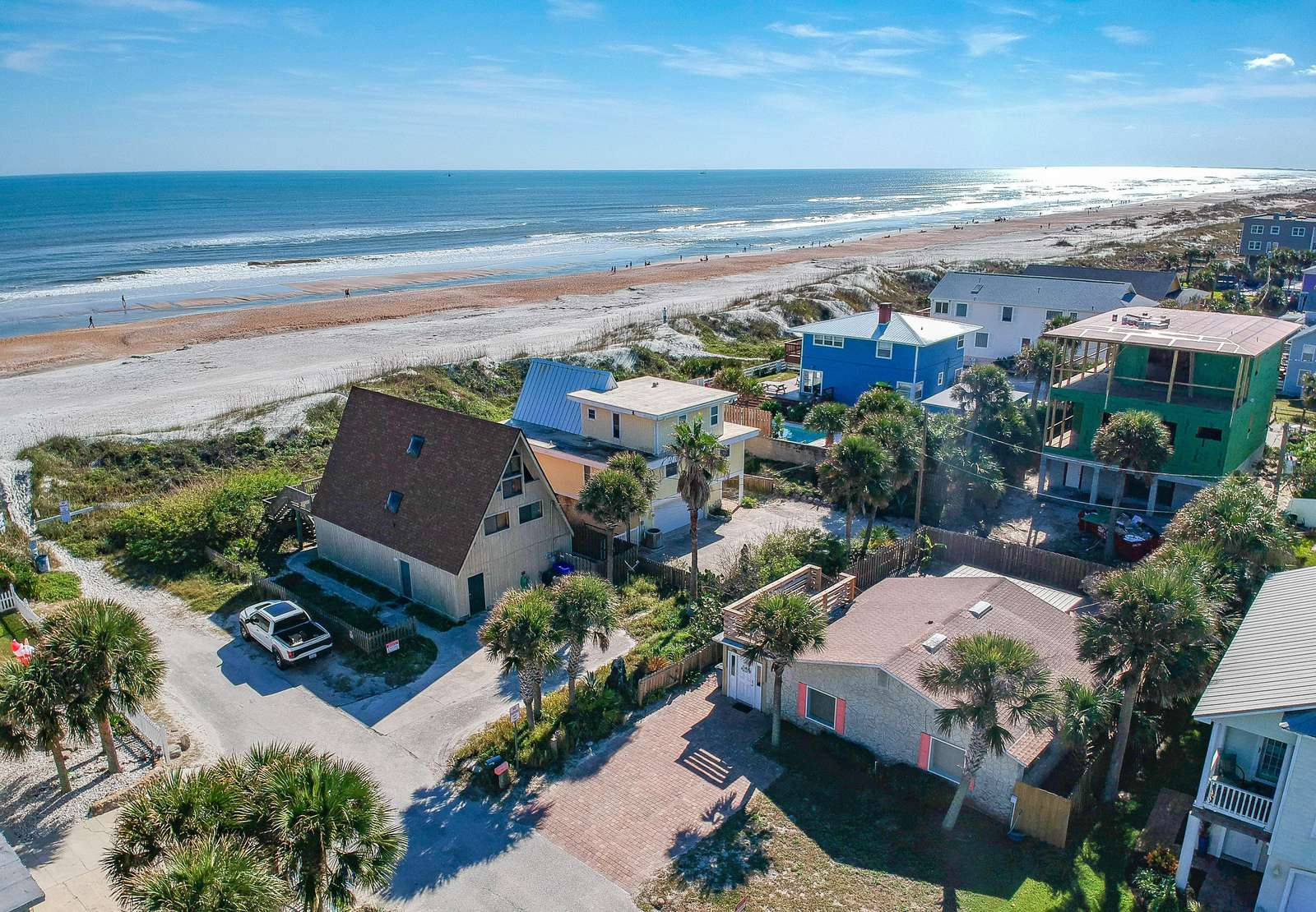 Aerial View of Tiki Hut and the Beach!