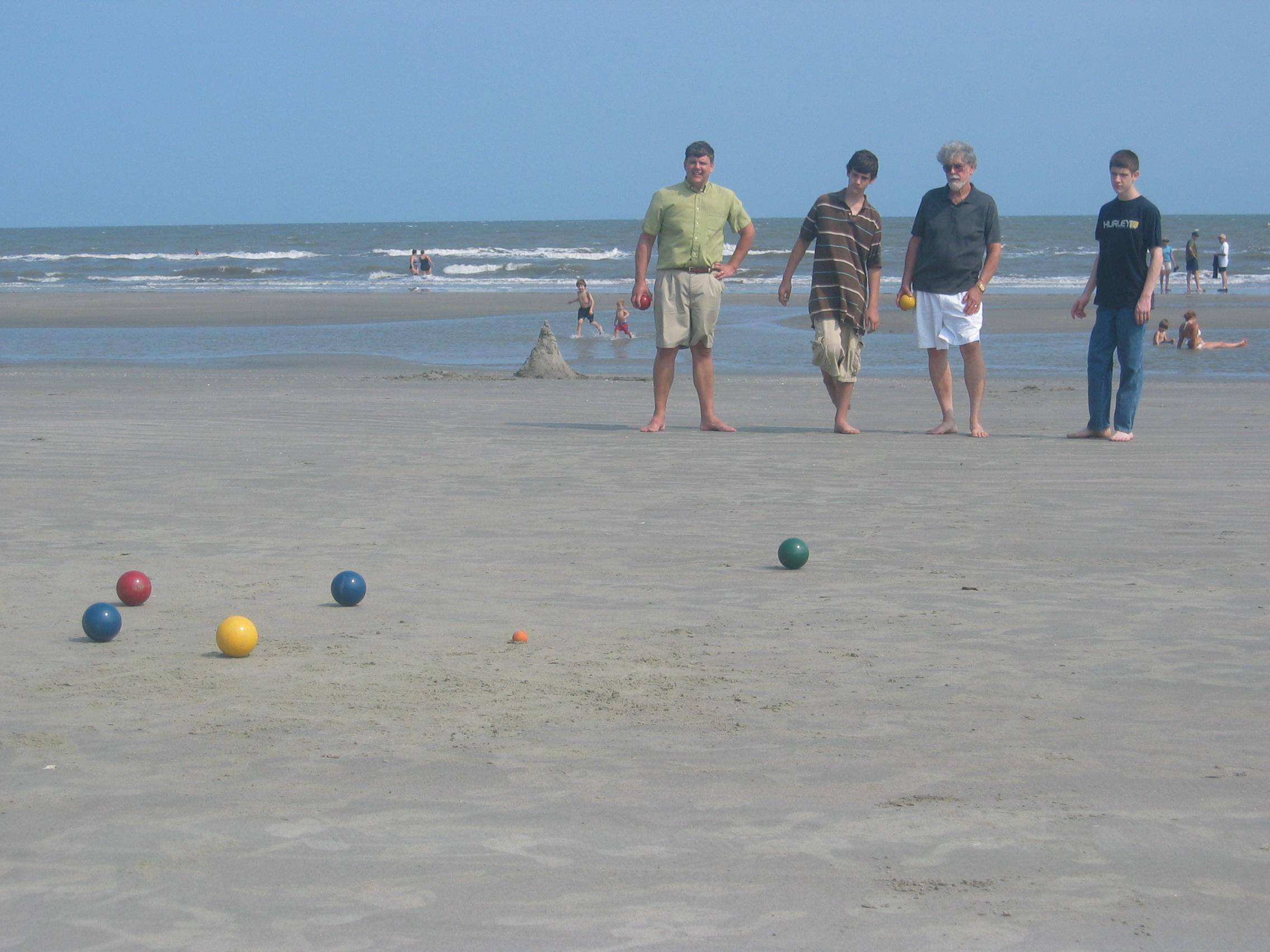 Playing Bocci Ball on the Beach