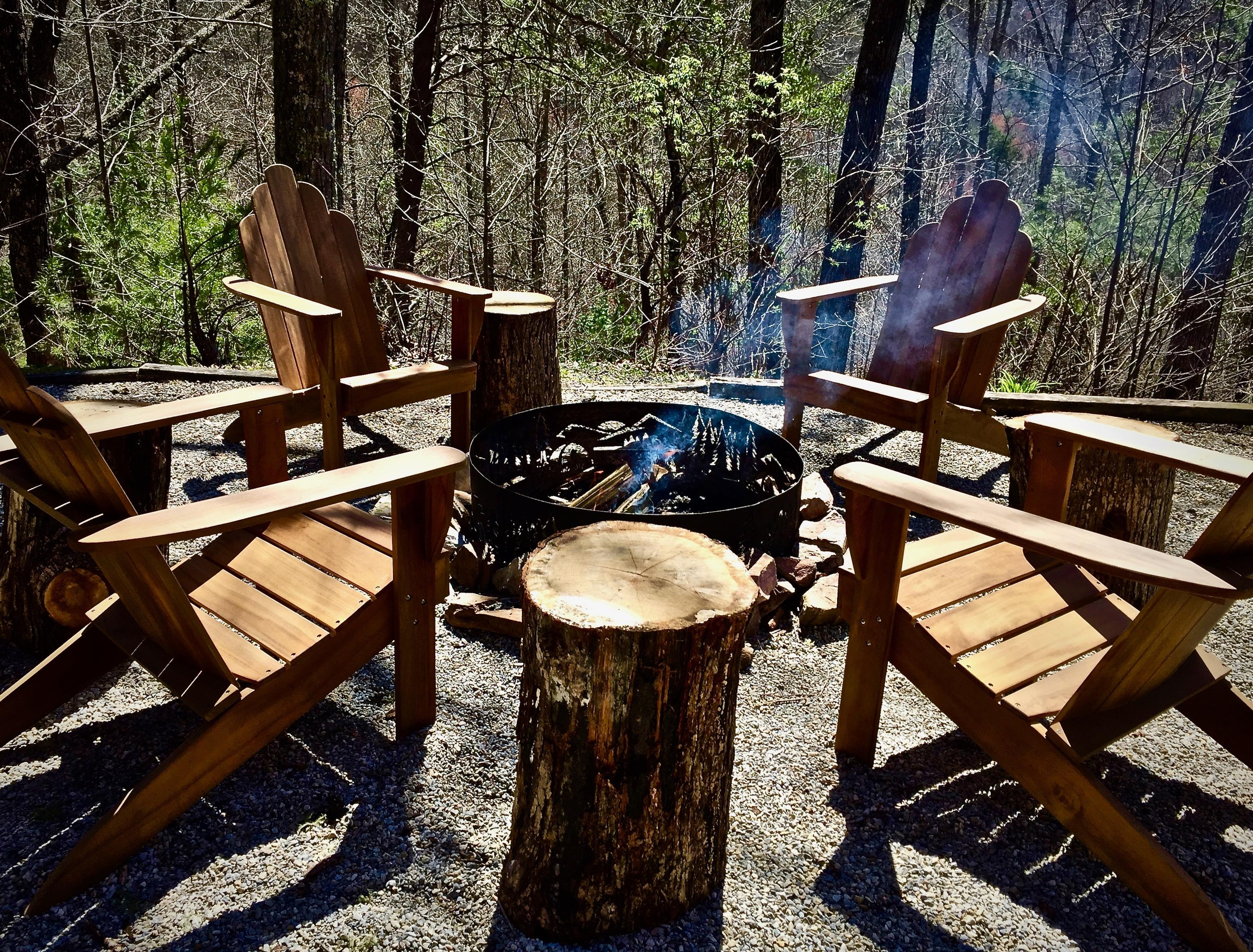 2019 Season began with 4 New Teak Adirondack Chairs to Relax around the Fire Pit