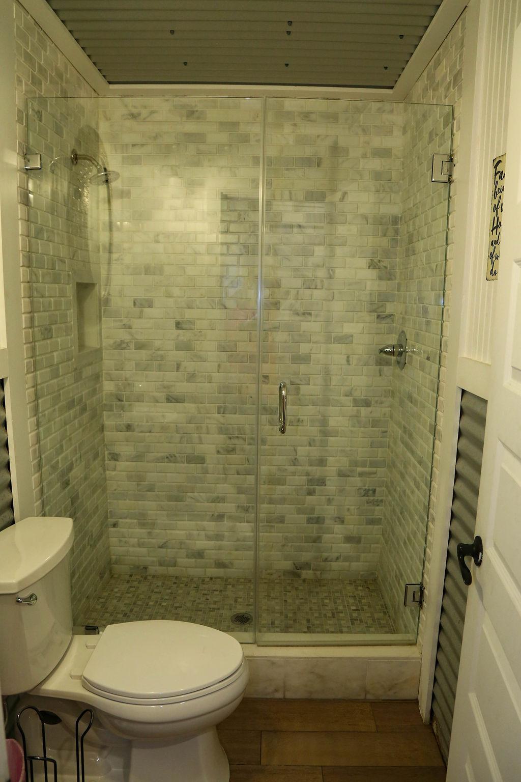 Bathroom # 7custom white marble shower