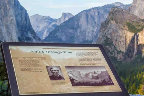History at the Wawona Tunnel leading into Yosemite Valley.