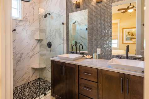 1st Floor Bath with Large Glass Enclosed Shower and Dual Sinks