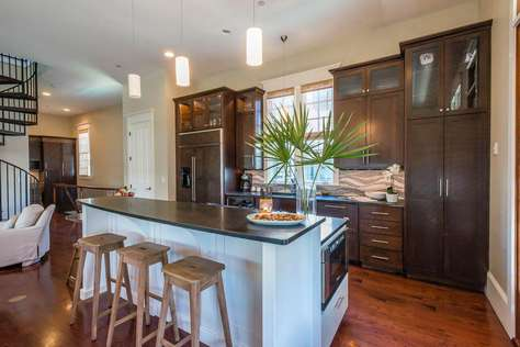 Gourmet Kitchen Featuring a Thermador Gas Range, Double Ovens, Built In Microwave