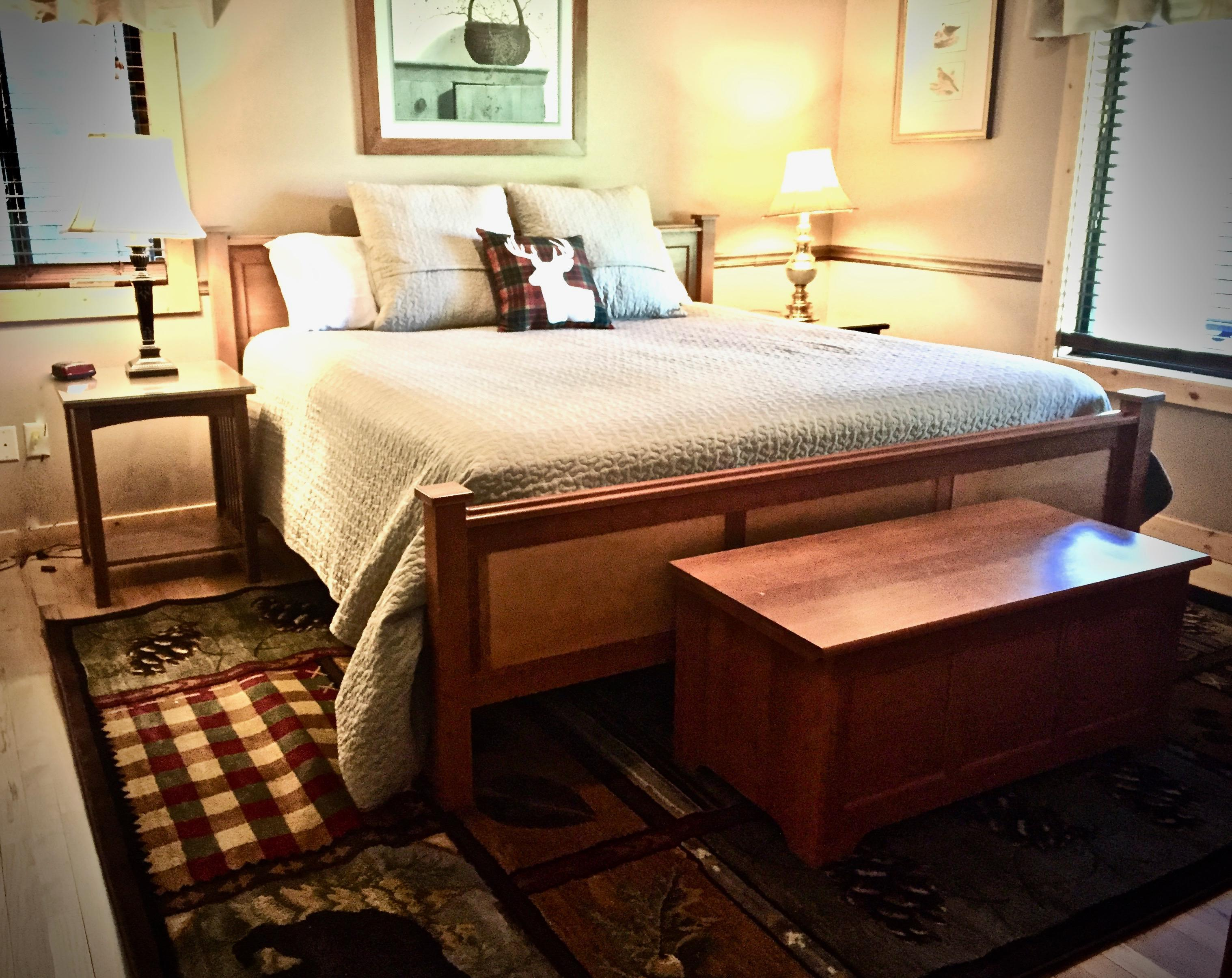 Master Suite offers a King Bed, ensuite bathroom, and a flat screen Satellite TV!