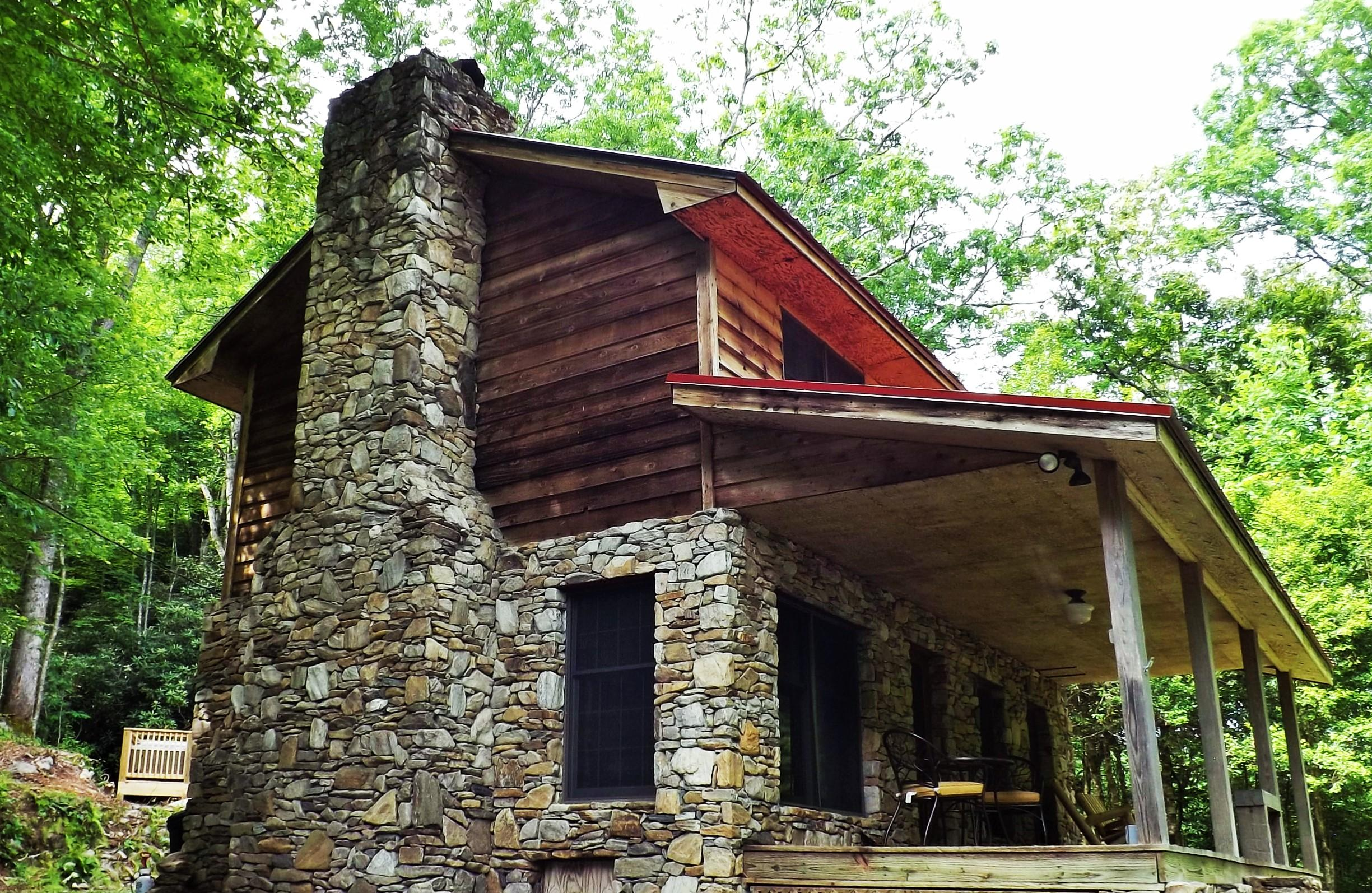 Cabin is nestled into 25 Private Acres