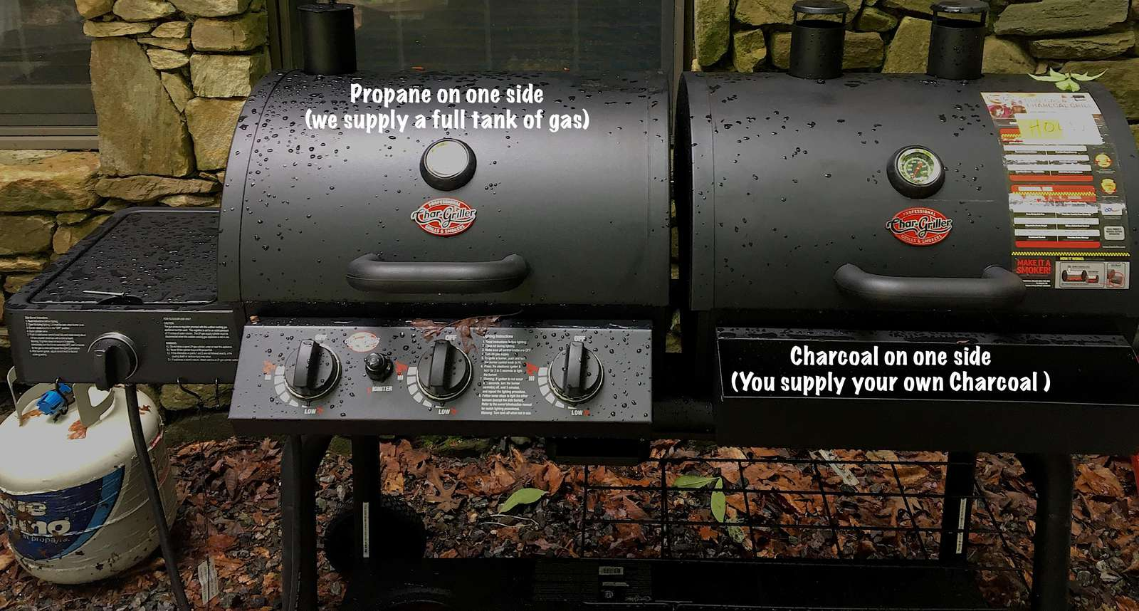 Dual Grill offers choice of Charcoal (Guests provide their own charcoal), or Gas cooking (we provide a full tank of propane)!