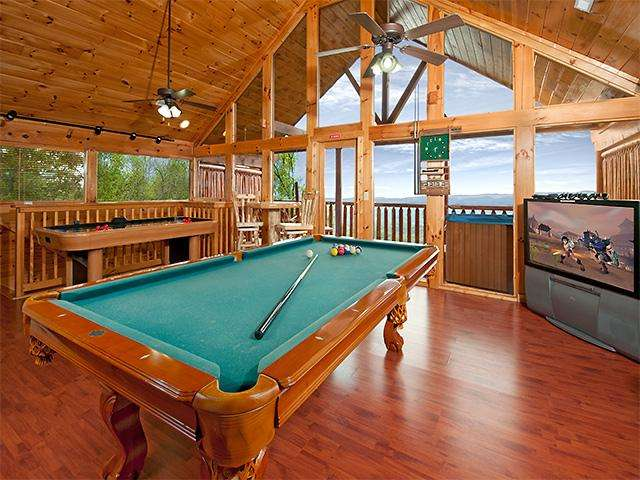 """Pool Table Loft...please note the TV has been updated to a 47"""" flat screen."""