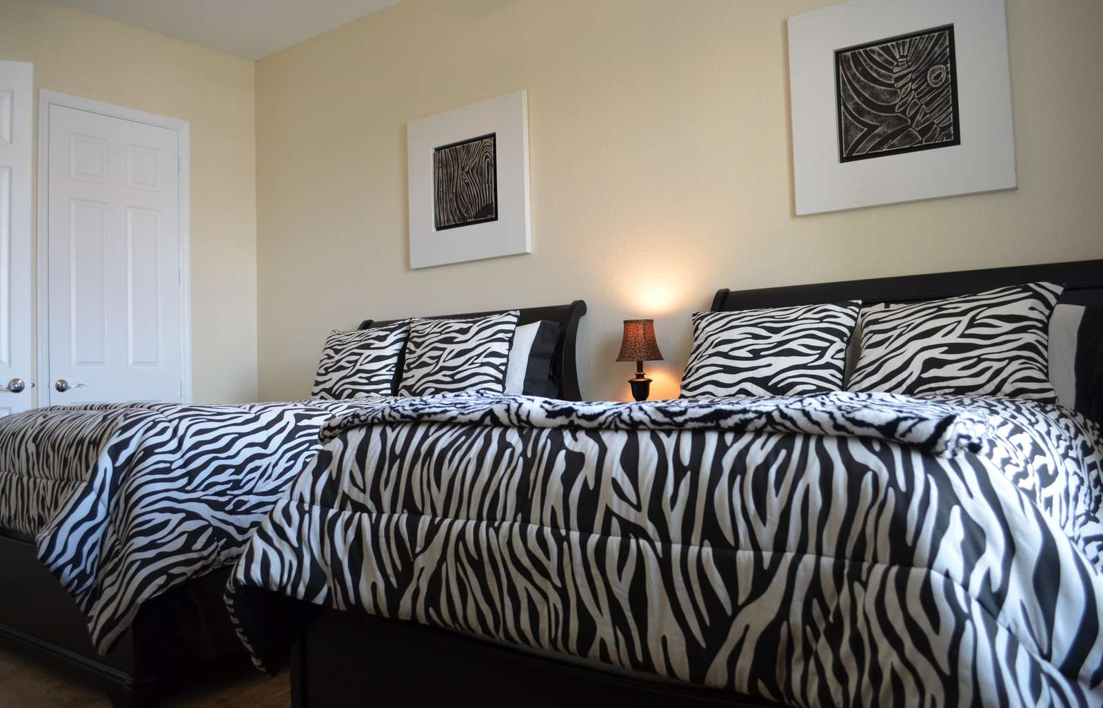 Two full beds in guest bedroom