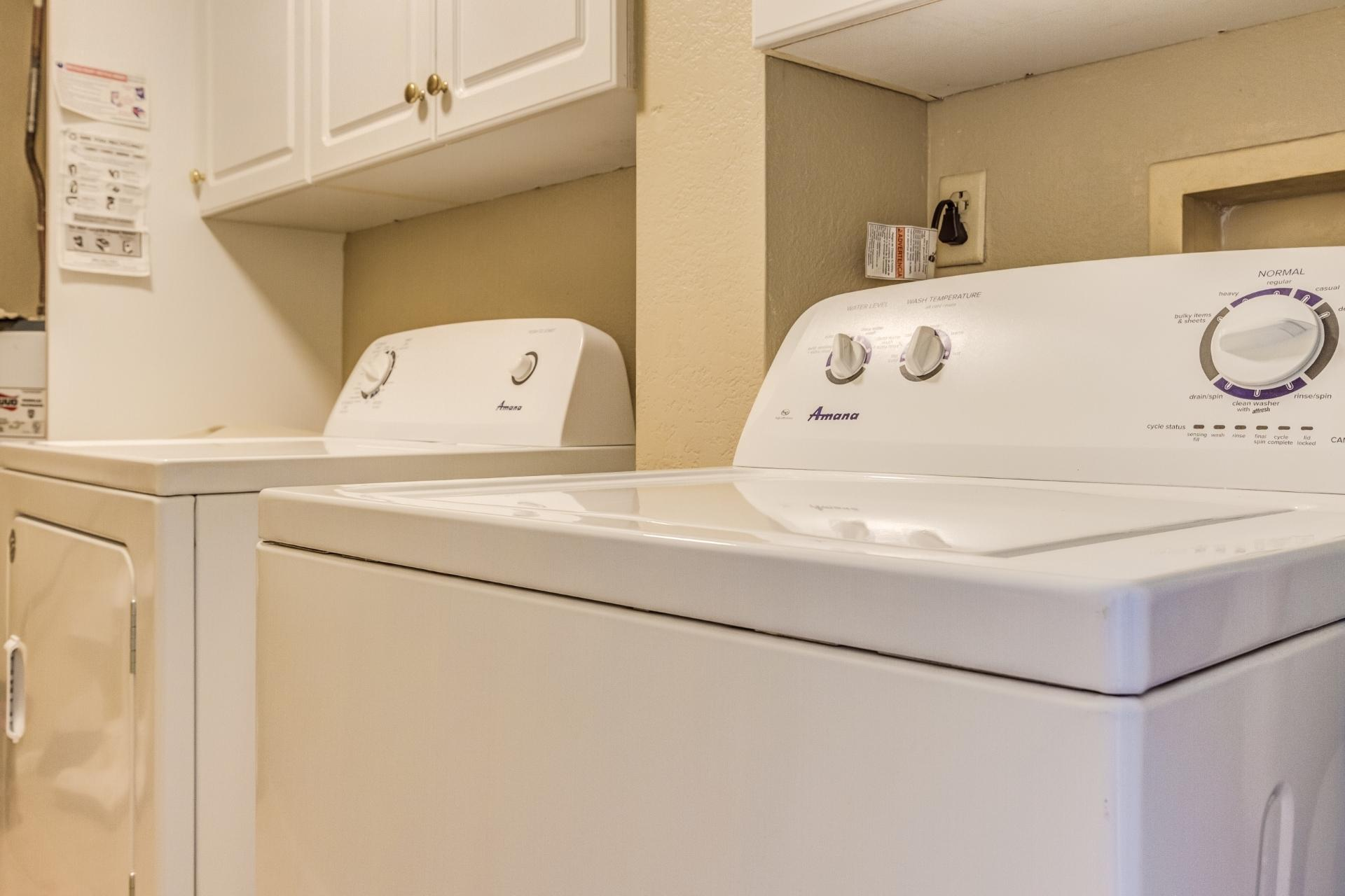 Brand new washer & dryer for your use.