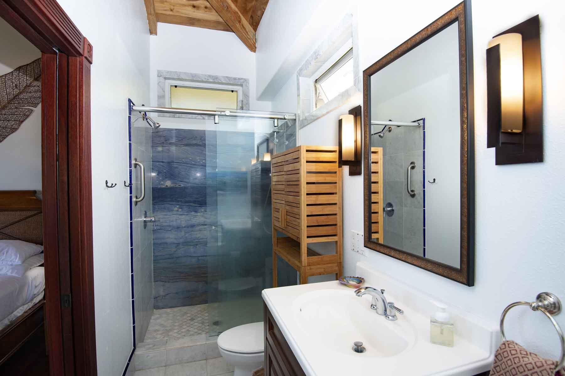 Left half of Master bathroom with shower.