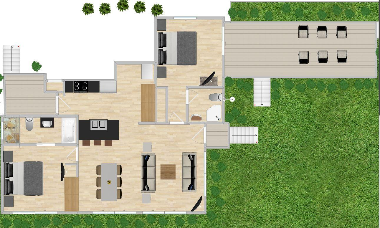 Floor plan showing spacious areas in and around oceanfront home.