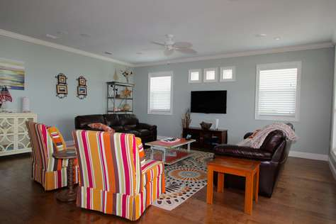 Family room with deck access and gulf views