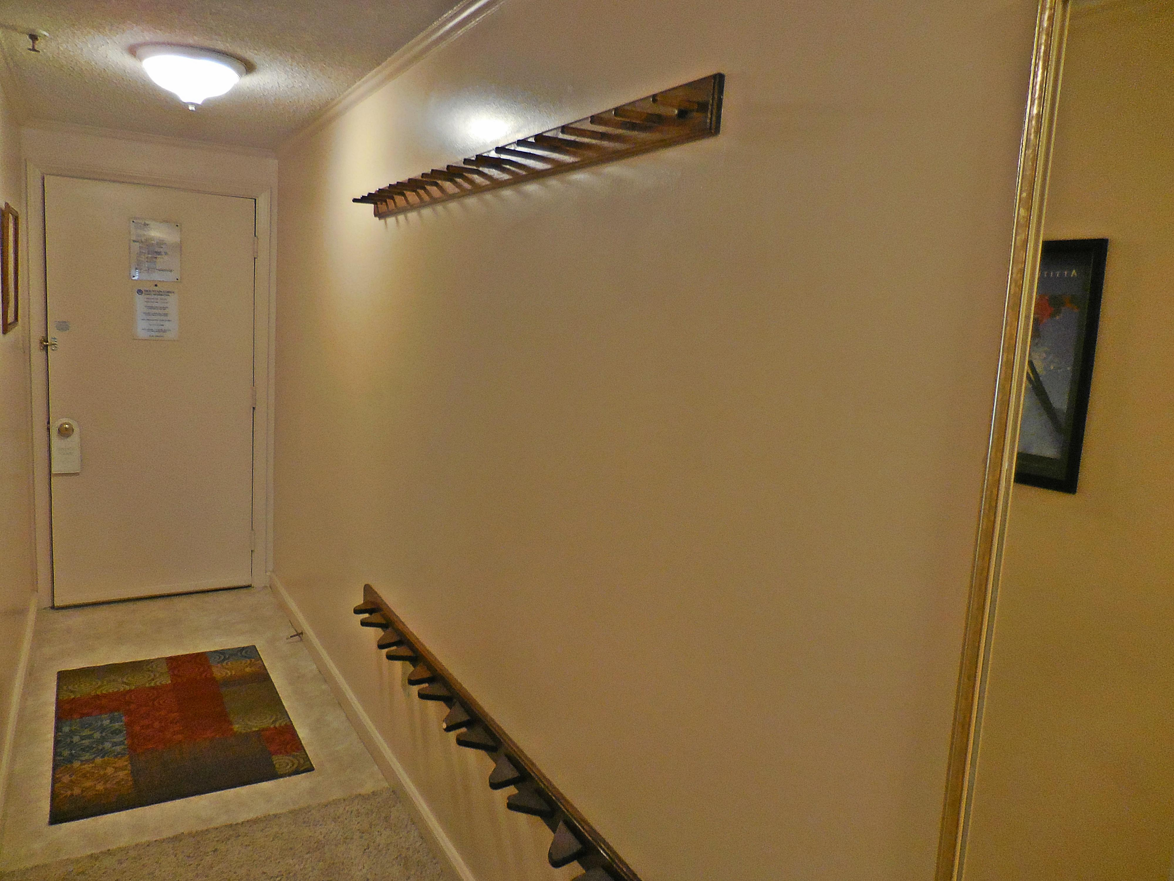Ski rack in hallway to securely store your gear!