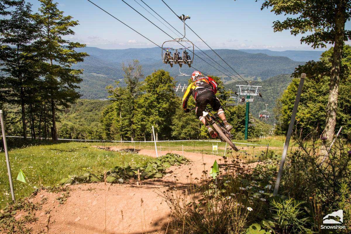 Enjoy Snowshoe's extensive trail system for downhill mountain biking!