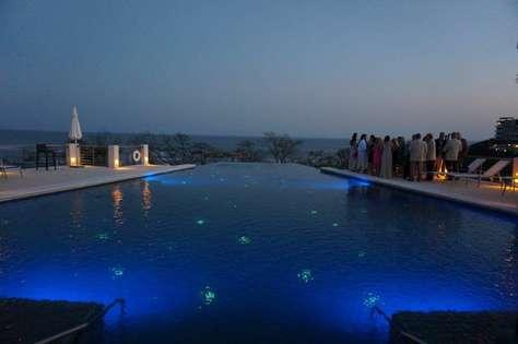 Peninsula pool at night