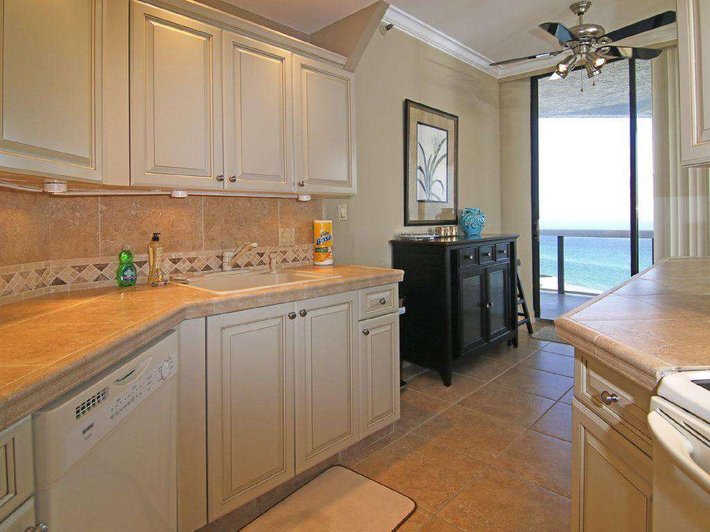 The kitchen is well appointed with amazing water views!