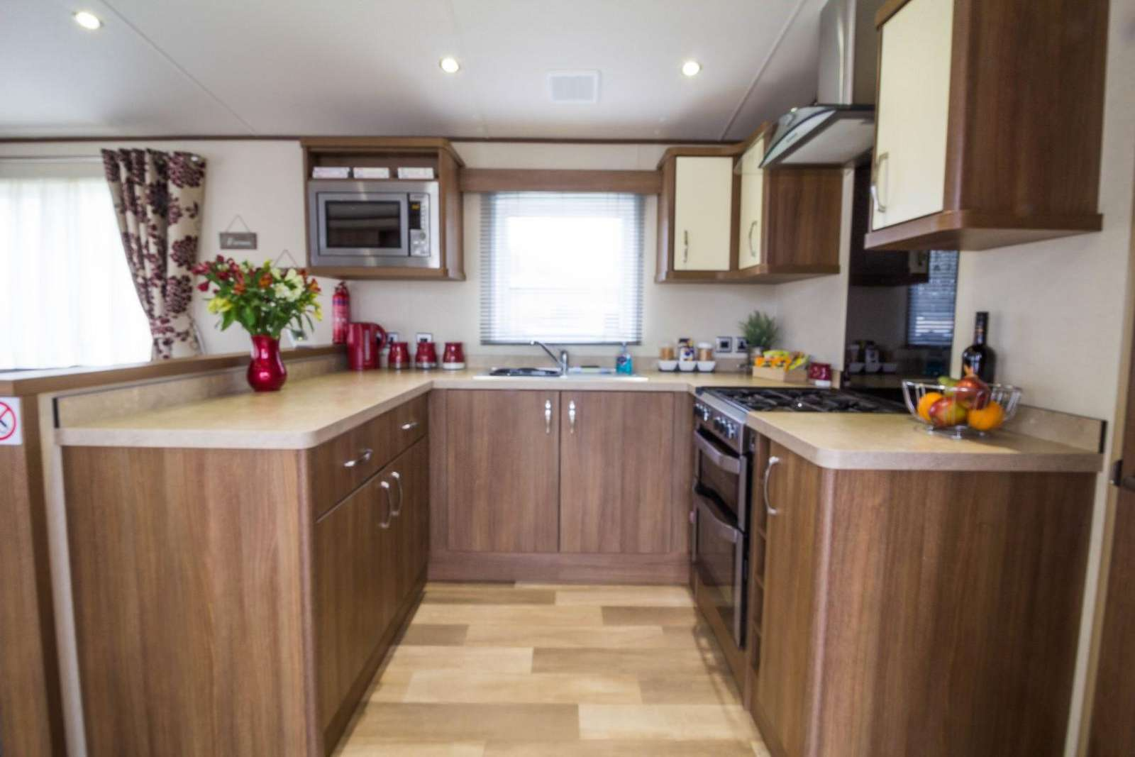 Modern and Stylish kitchen in this 4 berth luxury lodge at the Haveringland Hall Park.
