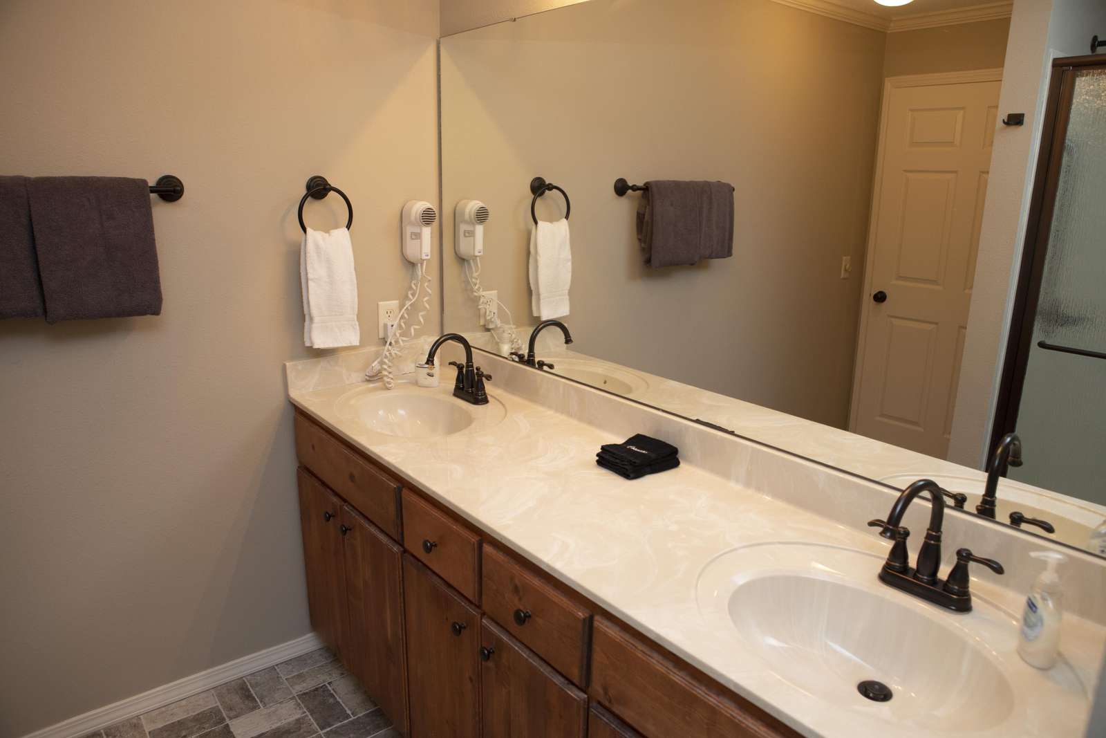 Master bathroom with double sink.