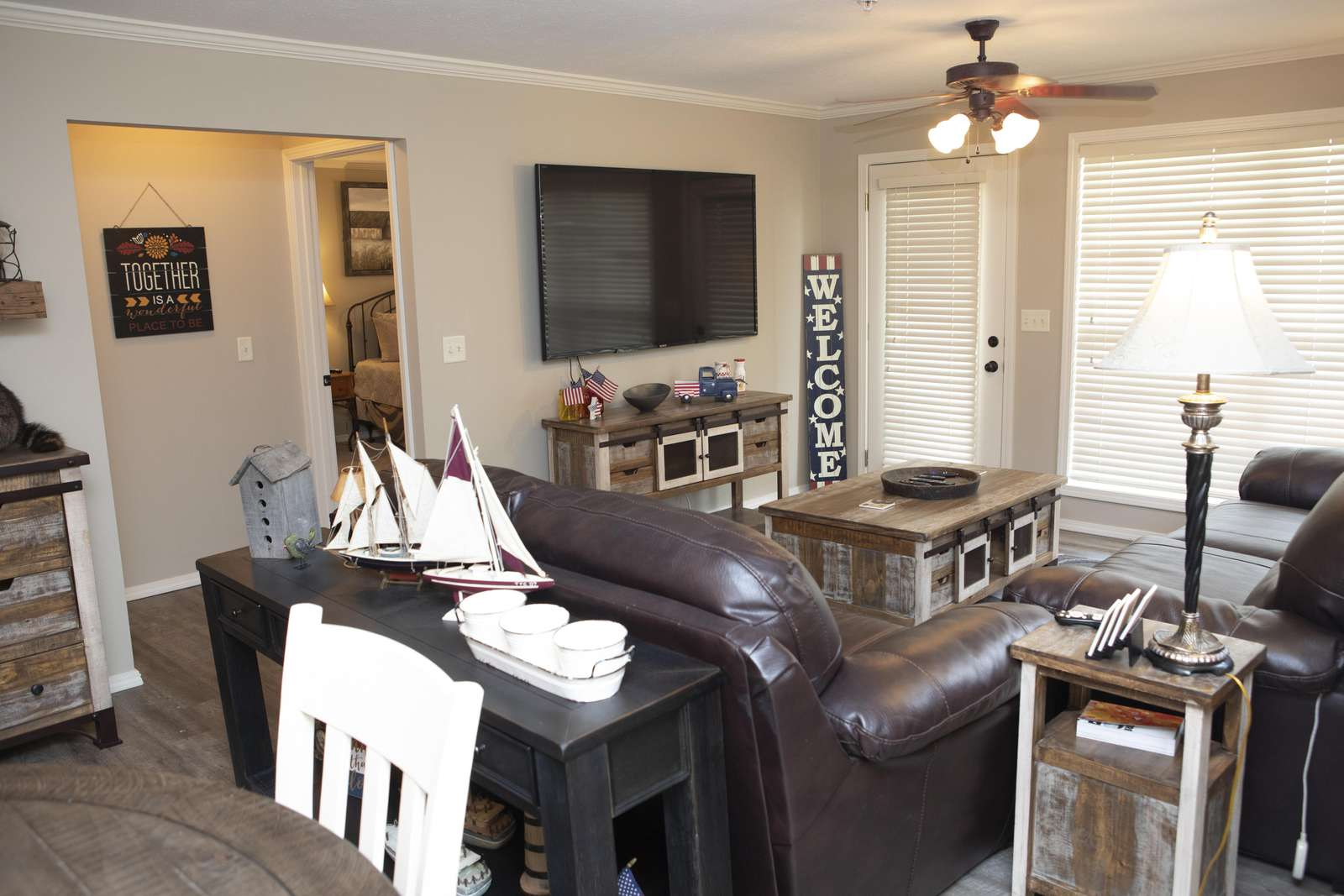 "Comfortable, updated furniture throughout. 70"" flat screen to watch the game!"