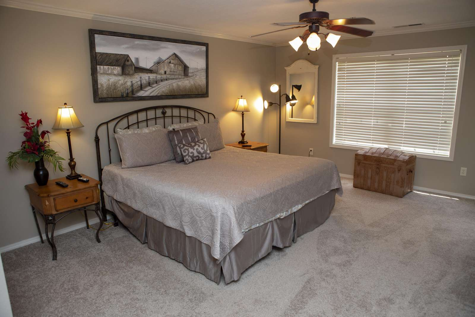 "Master King bedroom. Mattresses are updated and comfortable. 65"" flat screen TV!"
