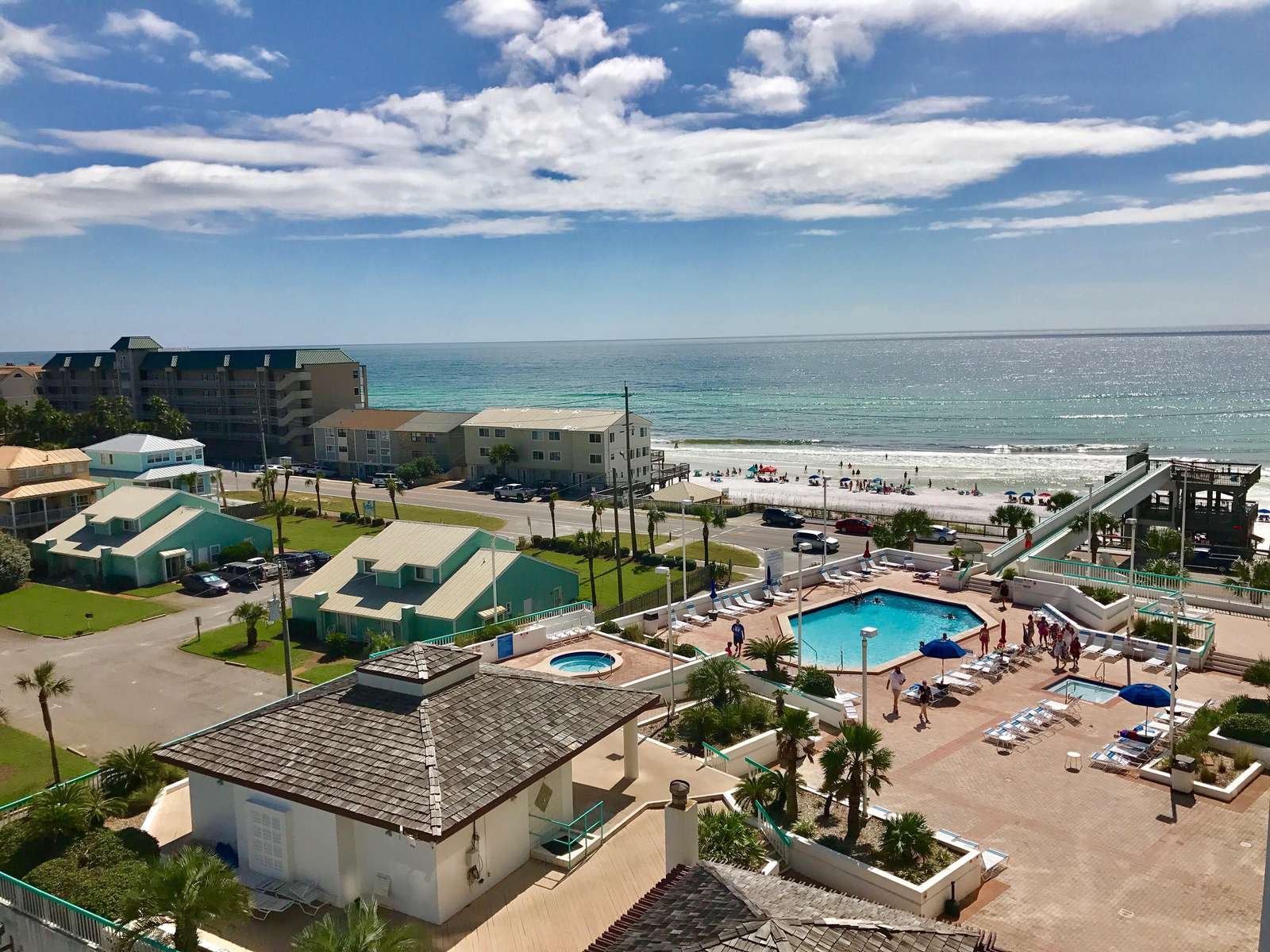 View from the balcony onto Surfside's pool deck.