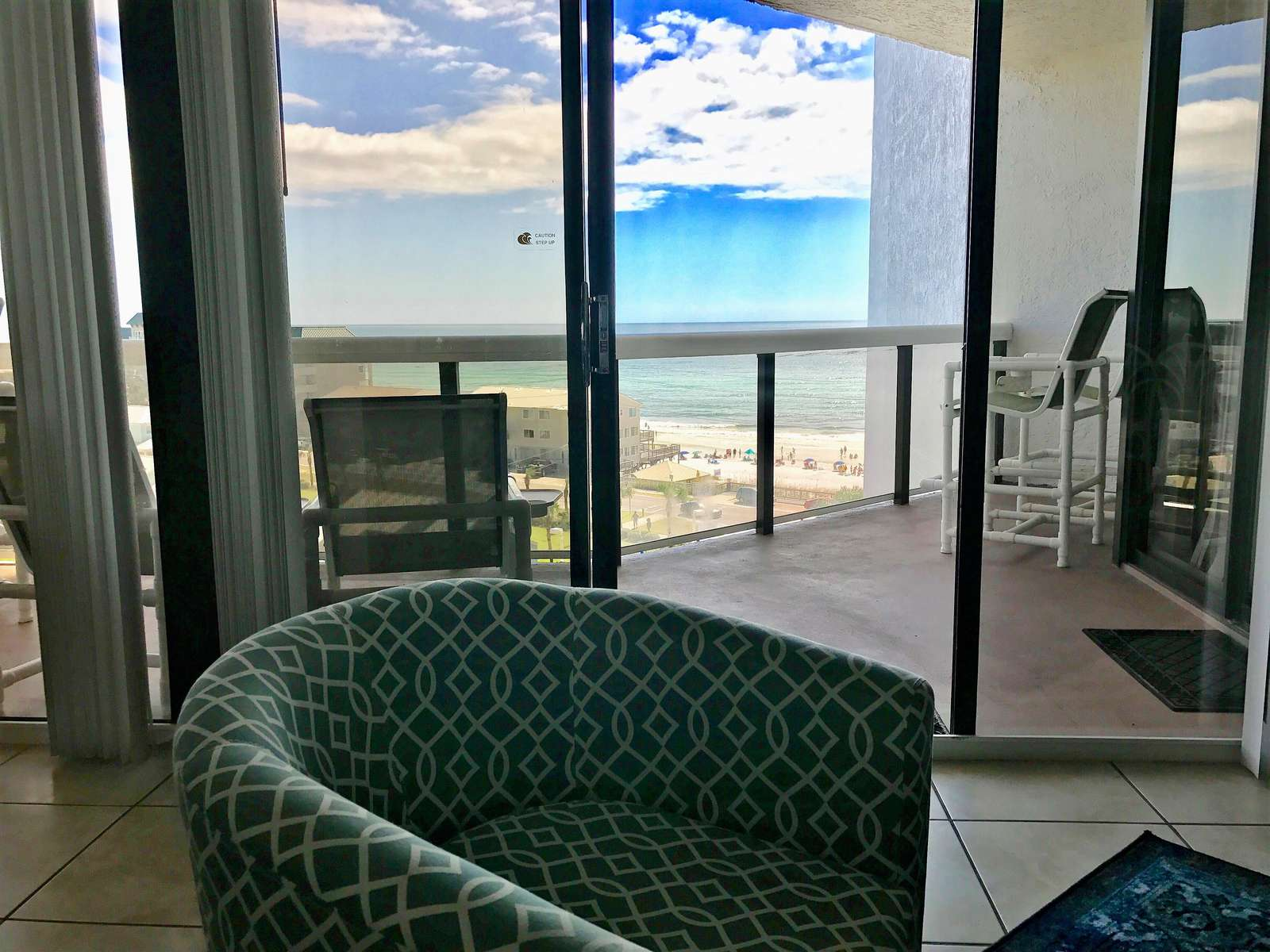 Enjoy the Gulf views from the living room, dining room, and kitchen.