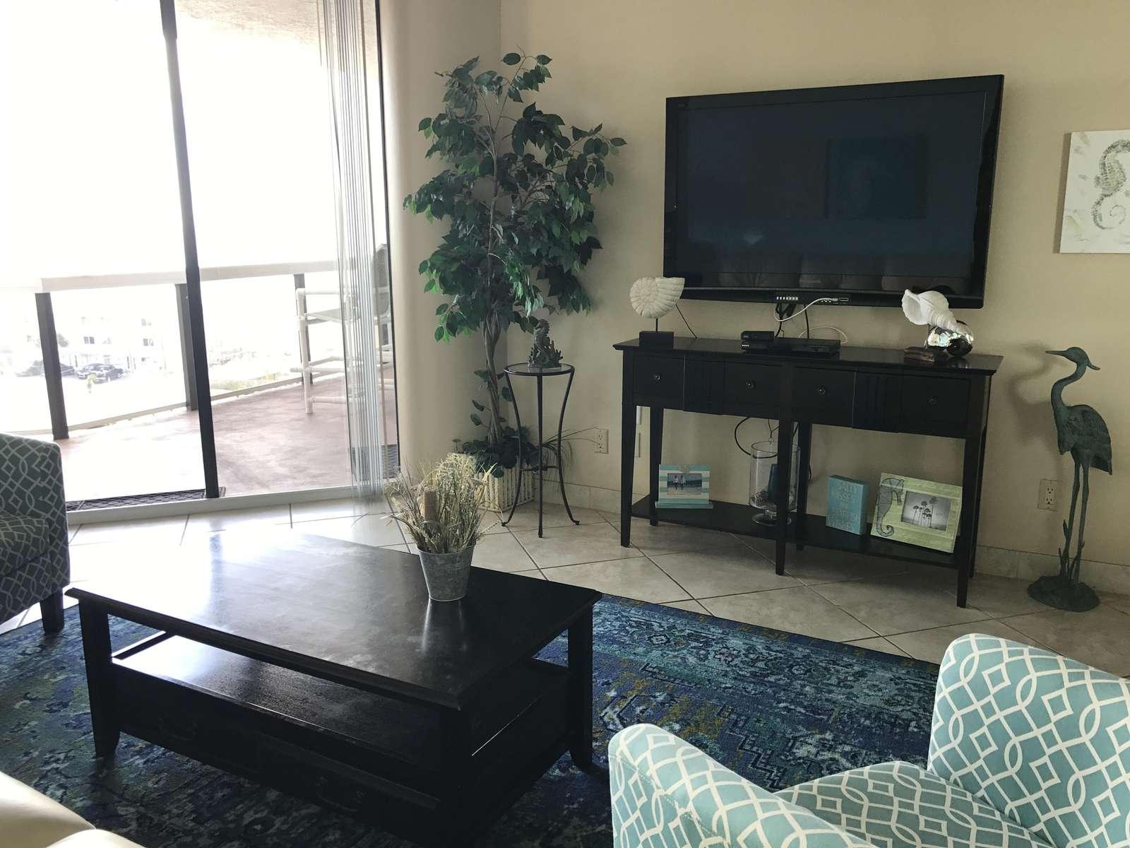 The large flat screen tv