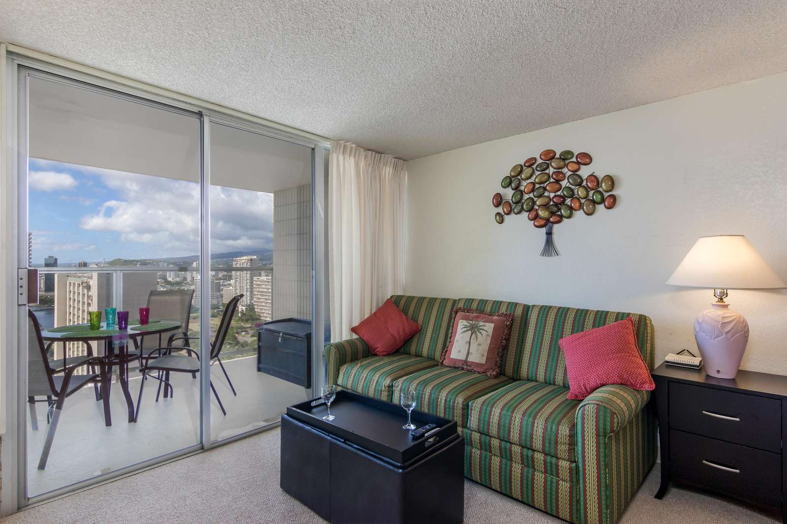 View of Queen Size Sleeper Sofa and Lanai