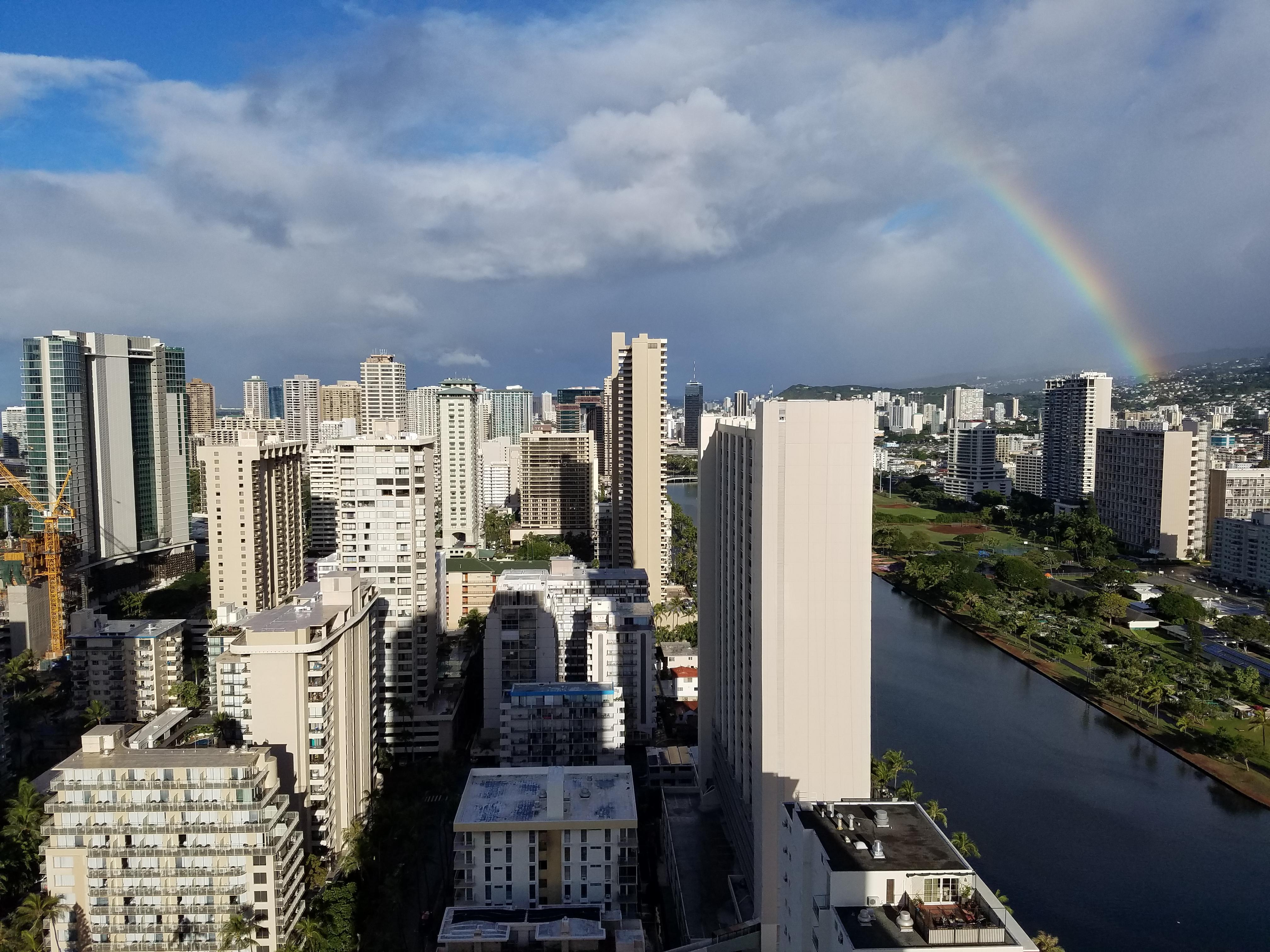 Rainbow over the Ala Wai from the Lanai