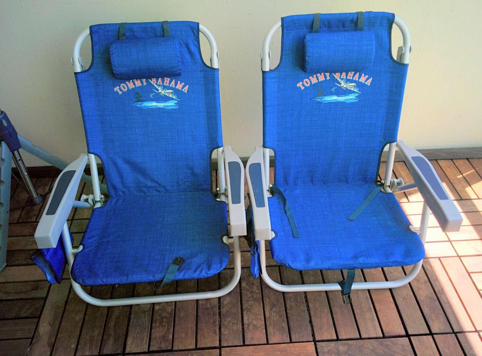 We provide 2 backpack beach chairs