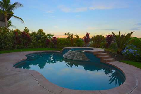 Sunset at the private pool