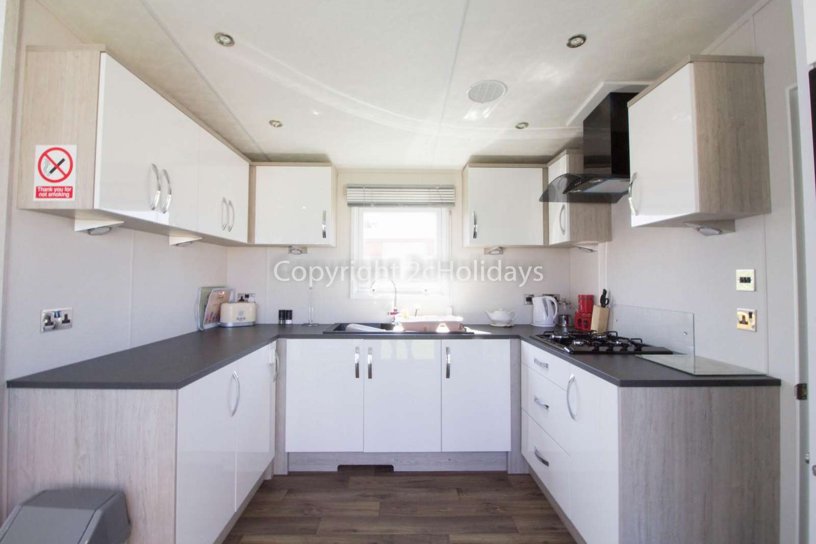 Modern and Stylish kitchen in this static home at the Broadland Sands Holiday Park.
