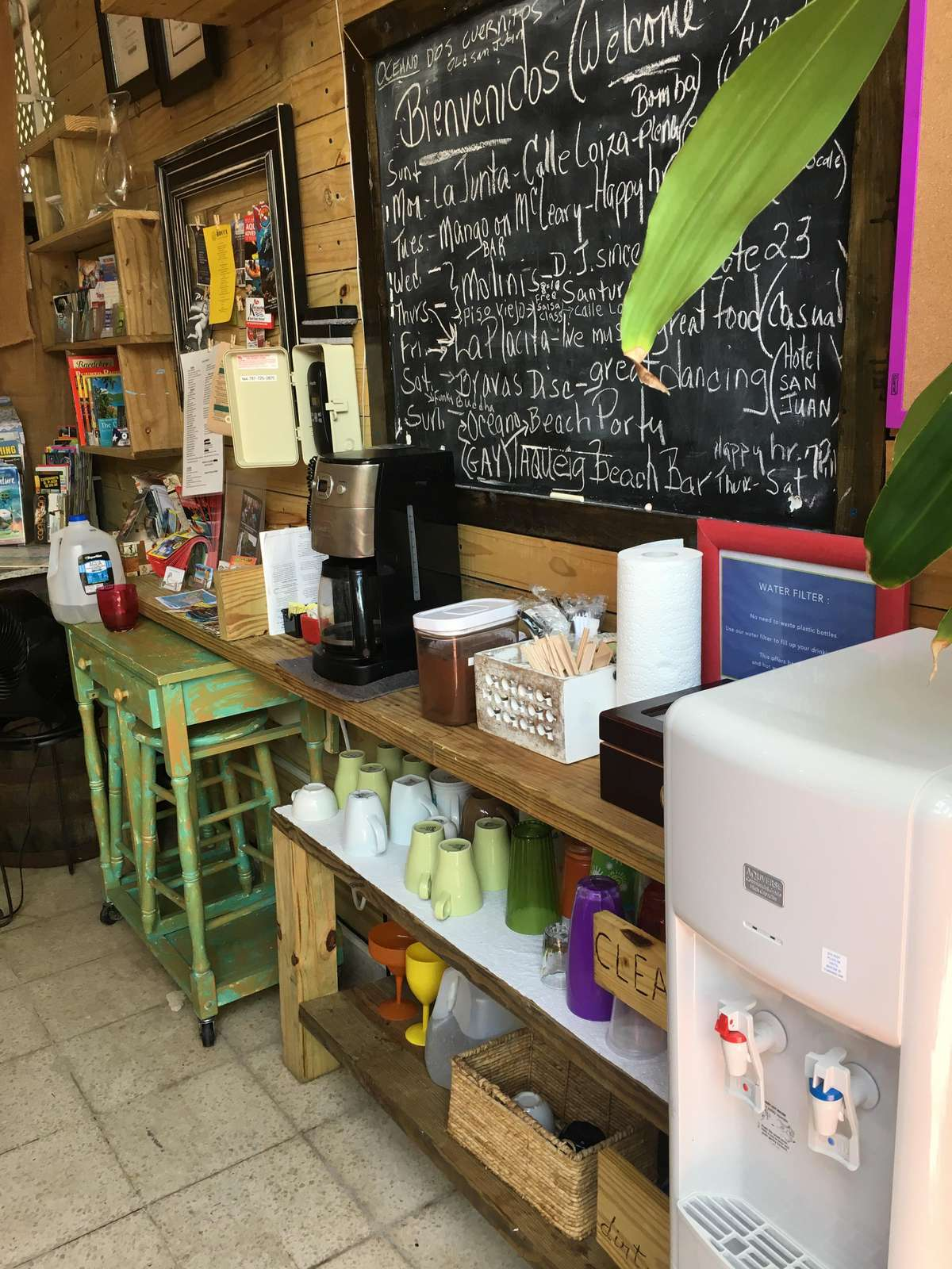 Our Hacienda is where you can get Puerto Rican coffee in the morning, or teas, filtered water, book share, community refrigerator, or convenience items
