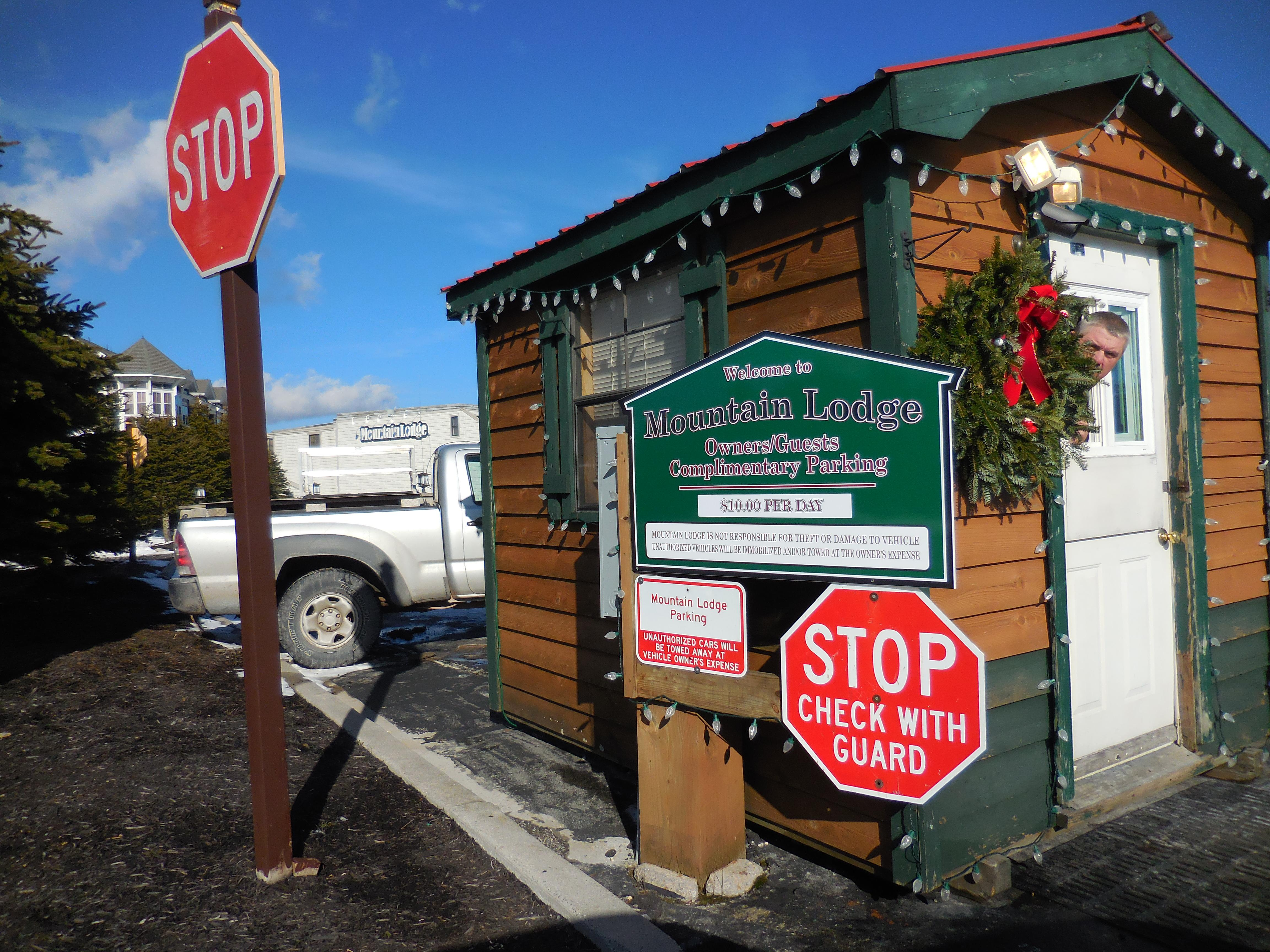Mountain Lodge enjoys it's own security-guarded parking lot - steps away from the slopes.