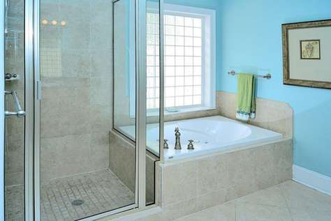 Master Bath Shower and Whirlpool Tub