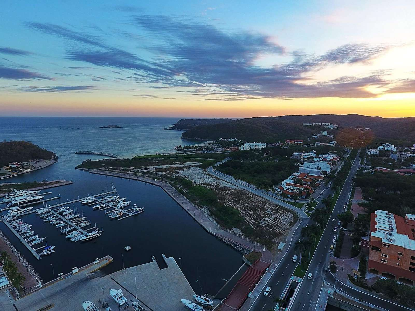 Aerial view of marina Chahue and beach