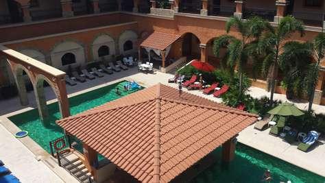 View of pool from main door terrace/hallway