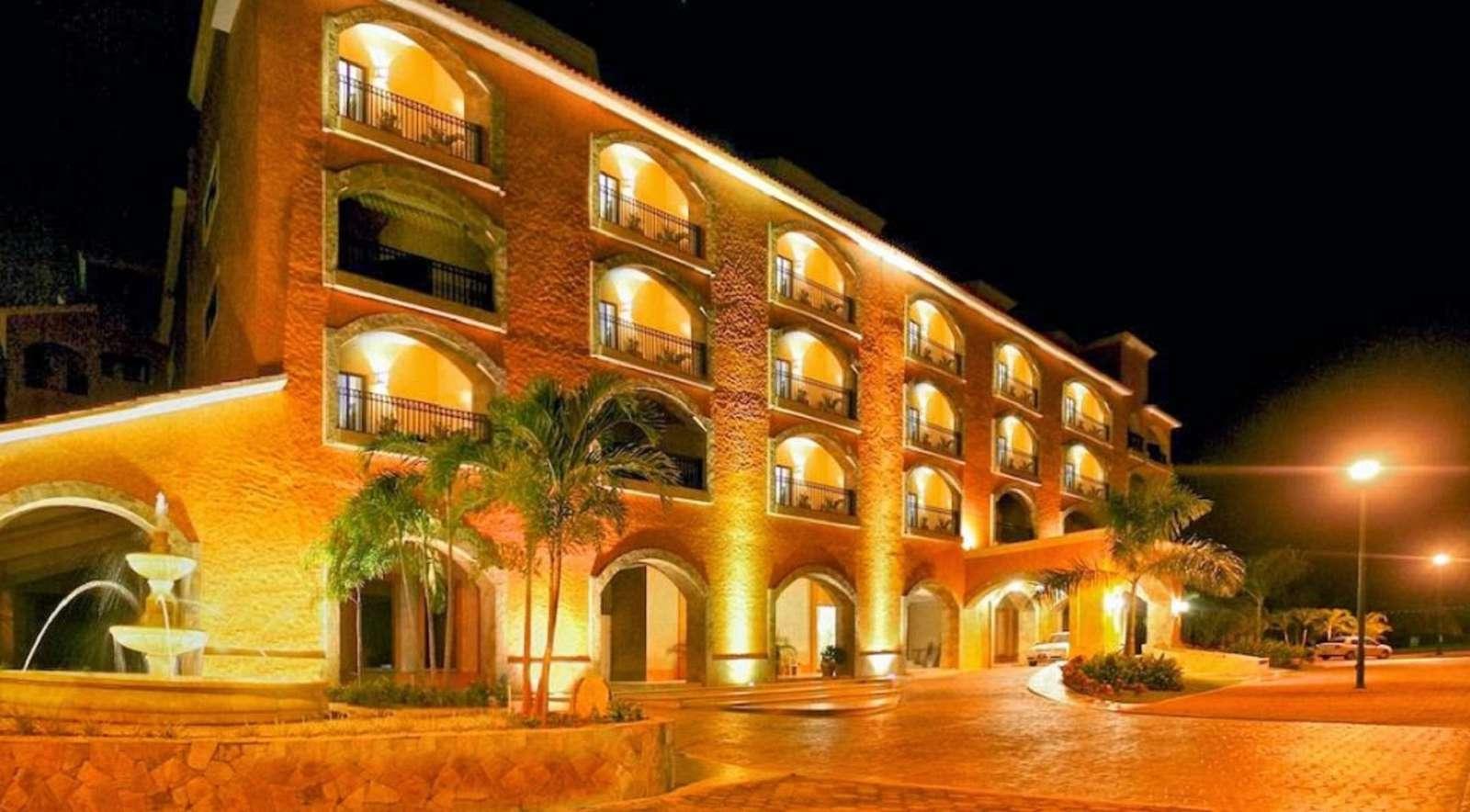 Condo building at night