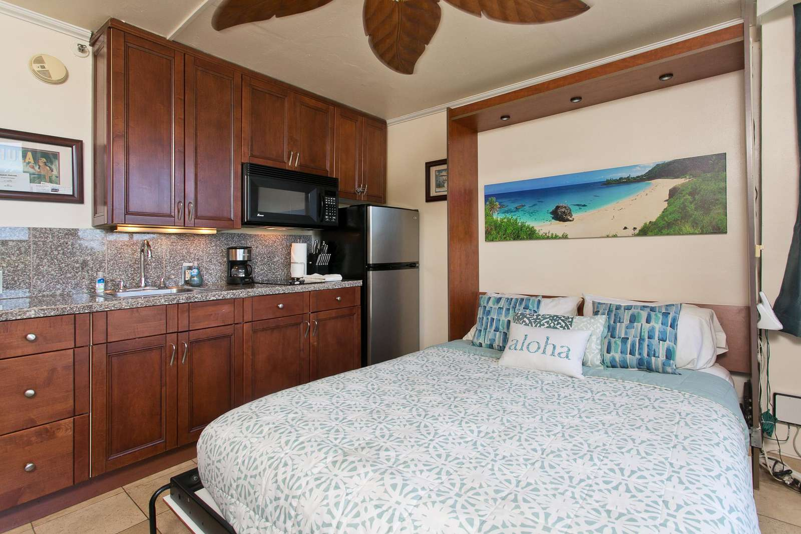 Microwave, Med Fridge and Queen bed