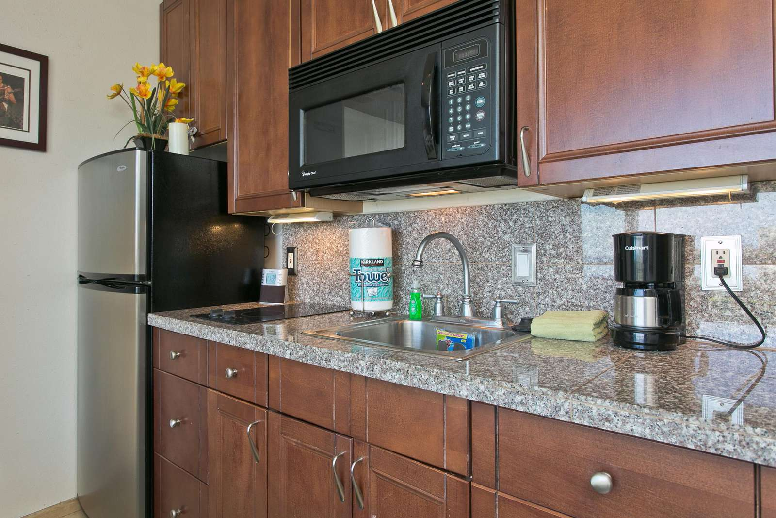 Your fully equppied marble topped kitchenette